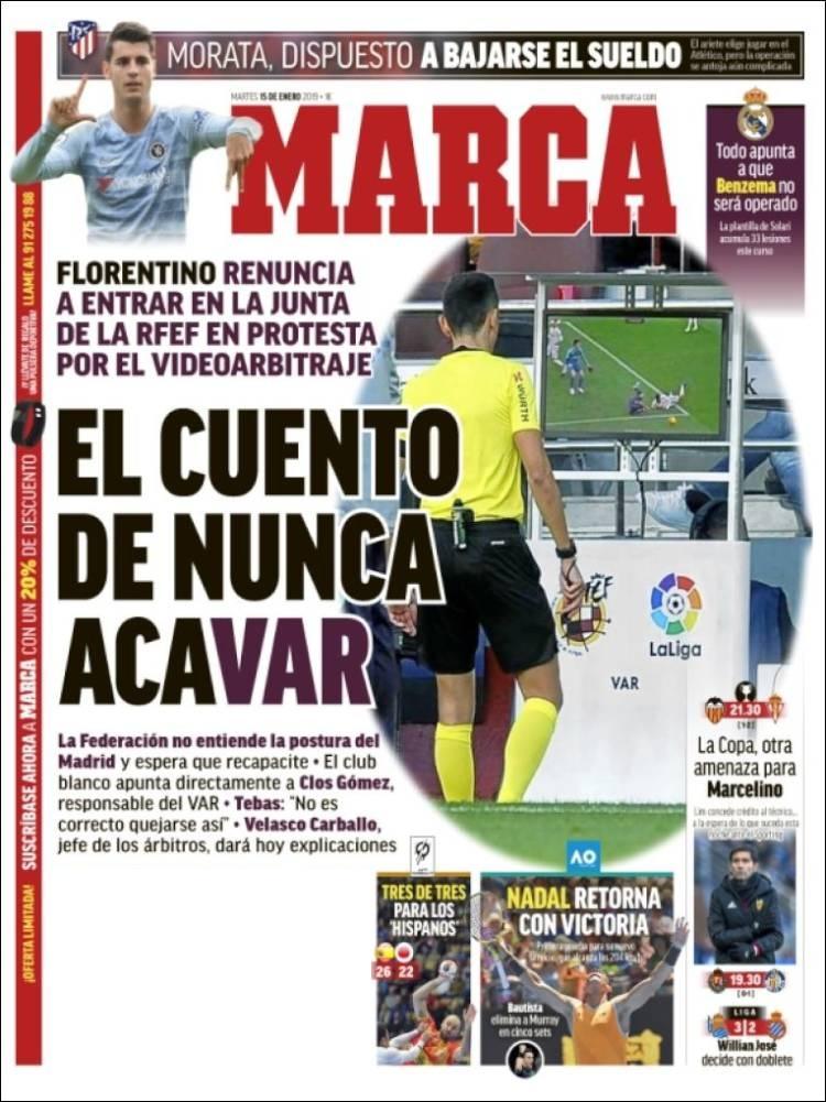 صحف إسبانيا تنشغل بأزمة ريال مدريد ومفاجأة برشلونة .jpg