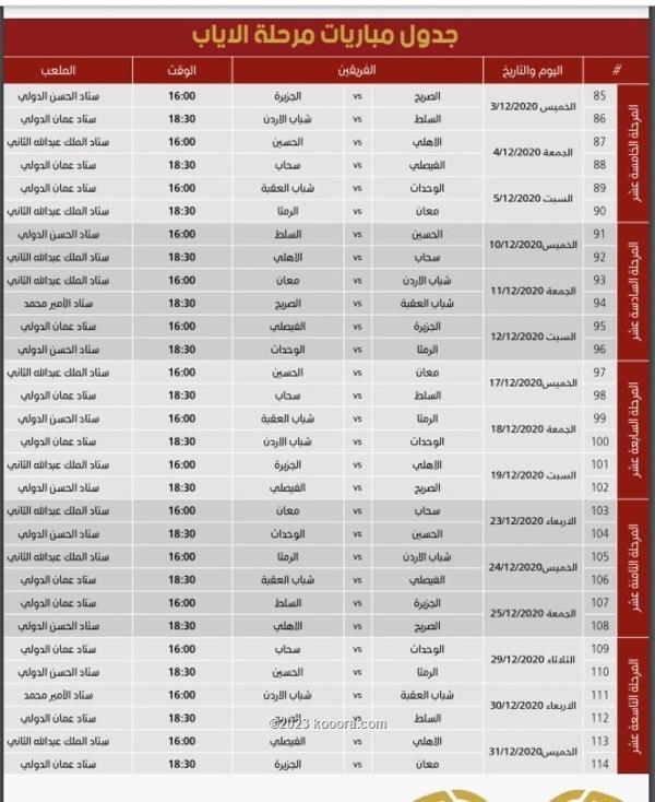 مواعيد مباريات الجولة الـ 16 في الدوري الأردني للمحترفين موقع كورة أون