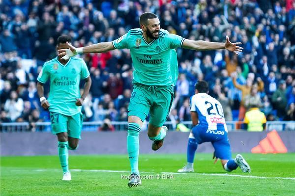 بالصور ريال مدريد يسقط إسبانيول بثنائية فرنسية