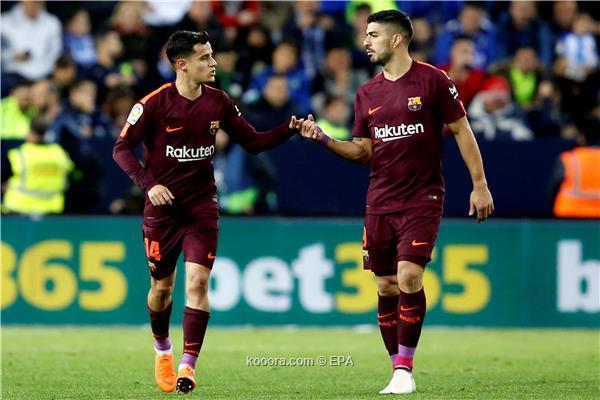 برشلونة يكسب مالاجا بثنائية غياب