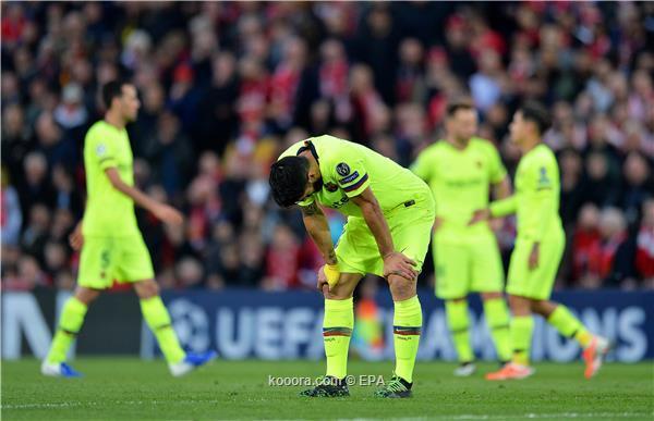 لاعبو برشلونة بعد الخسارة أمام ليفربول