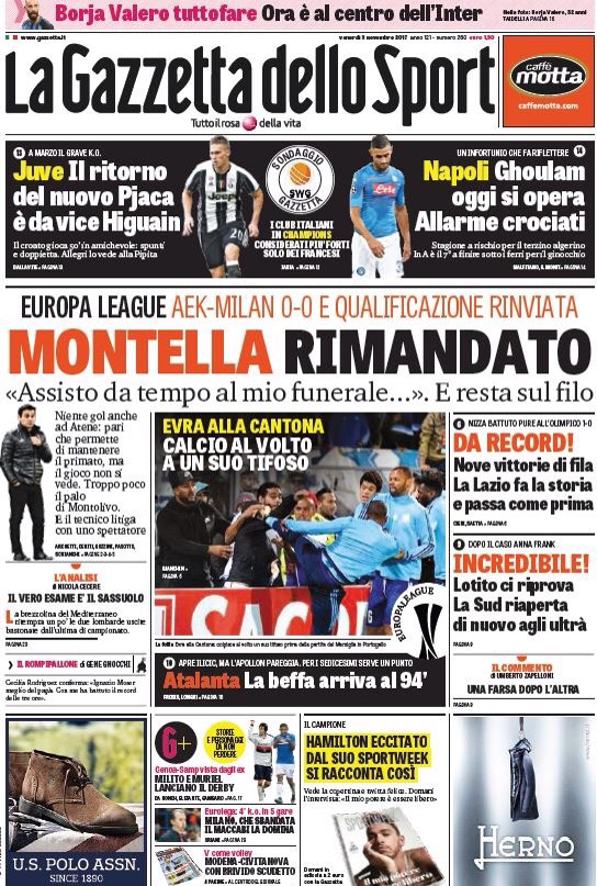 إصابة غلام ومصير مونتيلا الأبرز في الصحف الإيطالية IMG_3660