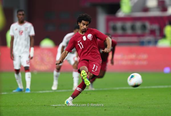 Soccer Football - Gulf Cup - Group A - Qatar v United Arab Emirates - Khalifa International Stadium, Doha, Qatar - December 2, 2019   Qatar's Akram Afif scores their second goal from a penalty