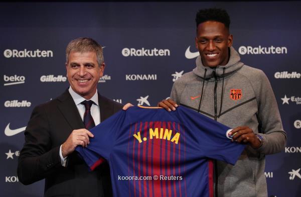 برشلونة يقدم ياري مينا للجماهير 2018-01-13t132335z_326723634_rc12356bc180_rtrmadp_3_soccer-spain-fcb-mina_reuters.jpg